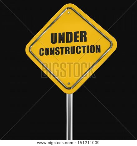 3D Illustration. Under construction road sign. Image with clipping path
