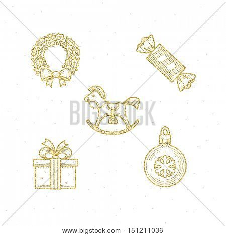 Vector icon set with Christmas glitter gold sign and symbol