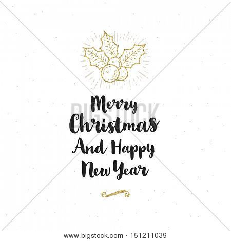 Christmas greeting card - Calligraphy greeting and glitter gold holly berries.