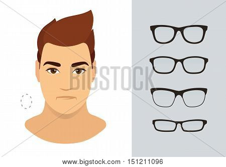 Man sunglasses shapes for oval man face type. Various forms of summer eyeglasses for oval face. Fashion eyewear collection. Vector icon set.
