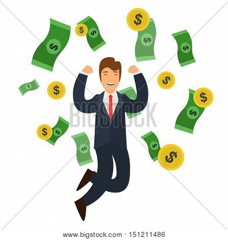 Businessman Success Concept Money and Golden Coin Falling. Flat Design Style. Vector illustration