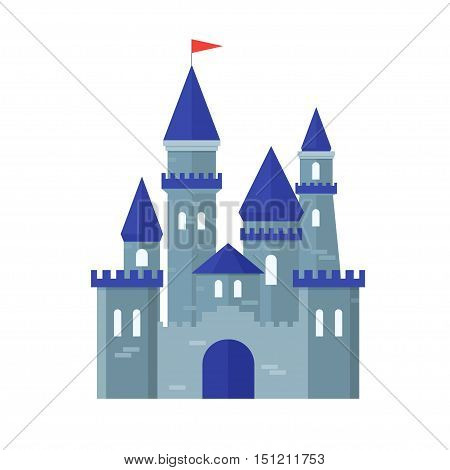 Castle Medievel Stone Fortress Ancient Building Flat Design Style. Vector illustration