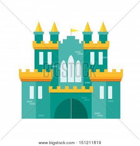 Castle Princess Flat Design Style Medieval Fortified Fort for Kingdom. Vector illustration