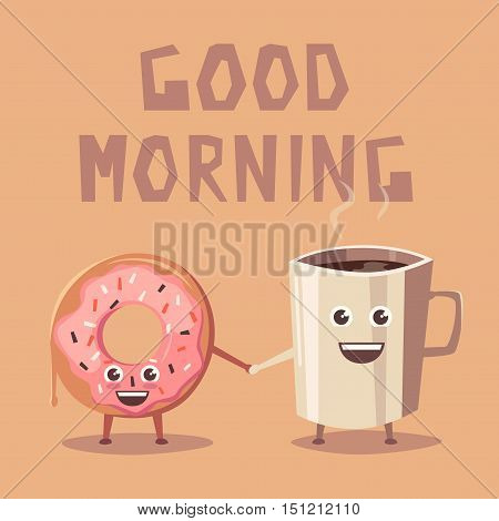 Pink donut and coffee character. Cartoon vector illustration. Friends. Good morning. Sweet bakery. Vintage style