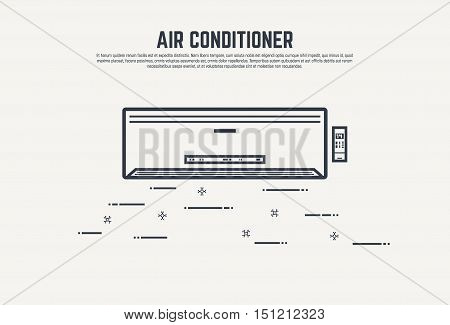 Air condition flat style thin line design concept. Air conditioner with remote control and display.