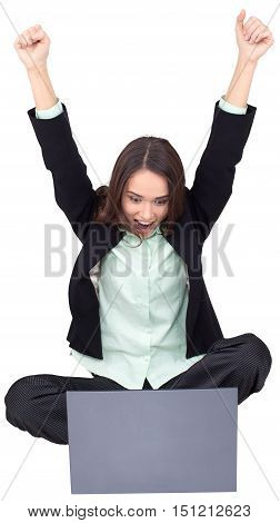 Celebrating Businesswoman Sitting on Groun Cross- Legged with Laptop - Isolated
