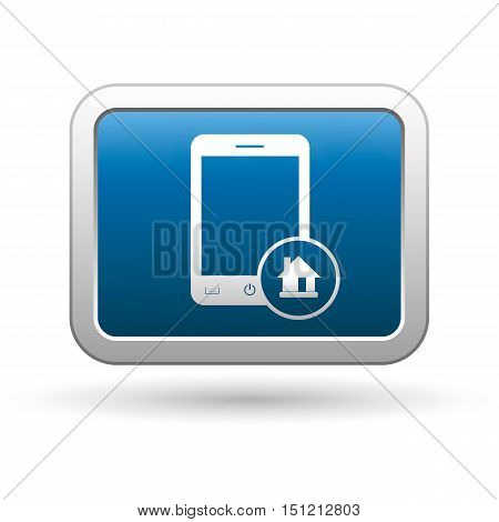 Phone with home menu icon on the button. Vector illustration