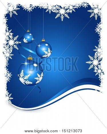 Christmas balls on winter blue background