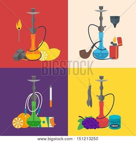 Hookah Sign Set Flat Design Style. Arabic Culture. Smoke Tradition Vector illustration