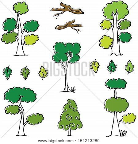 Doodle of tree set different collection vector art