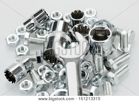 Wrench, Wrench Sockets, Bolt Screws And Nuts Close-up