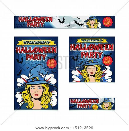 Four halloween banners template. Halloween party invitation. Different sizes. Set of vector cartoon banners with witch and bats. Text Halloween party and free entry.