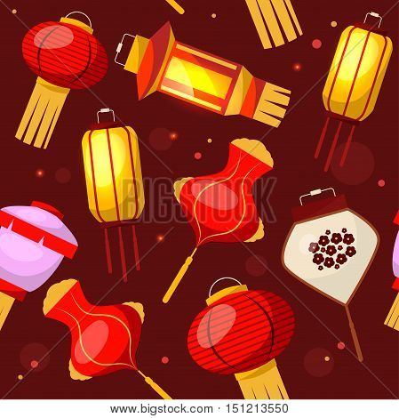 Chinese Lantern Background Pattern. Flat Design Style. Vector illustration