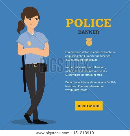 Police Woman Banner and Place for Your Text. Flat Design Style. Vector illustration