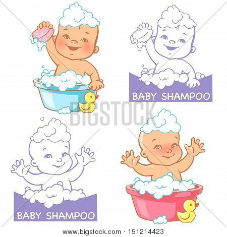 Vector Illustration And Logo For Baby Soap And Shampoo