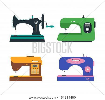 Color Sewing Machine Set. Retro and Modern. Flat Design Style. Vector illustration