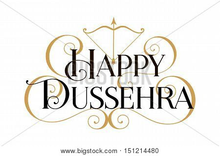 Happy Dussehra. Handwritten modern brush black text, gold swirl, white background. Beautiful lettering design vector
