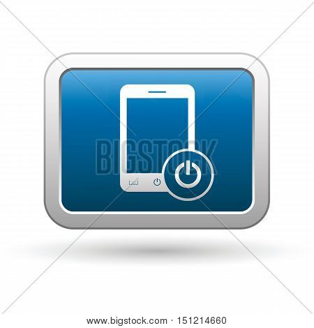 Phone with power icon on the button. Vector illustration