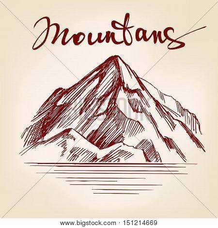 Mountain hand drawn vector llustration realistic sketch