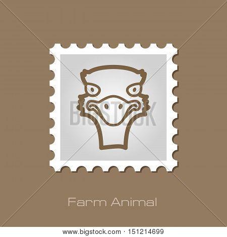 Ostrich outline stamp. Animal head vector symbol eps 10