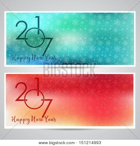 Decorative Happy New Year backgrounds with snowflake designs