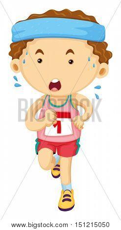 Man running in race illustration