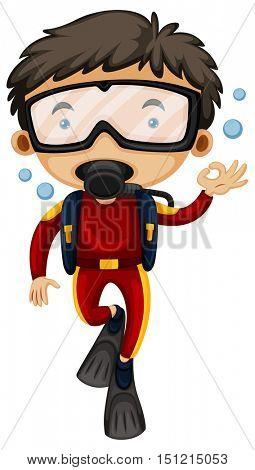 Man doing scuba diving illustration