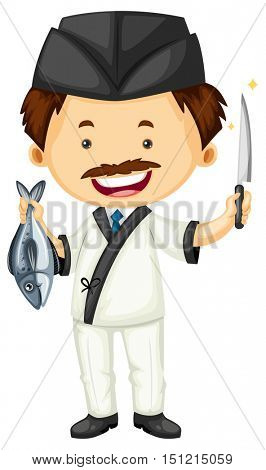 Sushi chef with fish and knife illustration