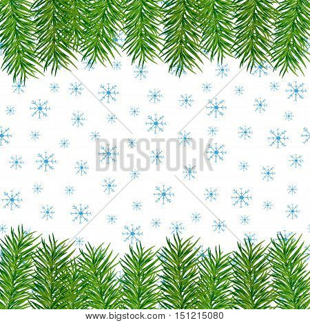 Christmas and New Year background with pine branches and snowflakes. Vector illustration