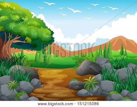 Nature scene with hills and trail illustration