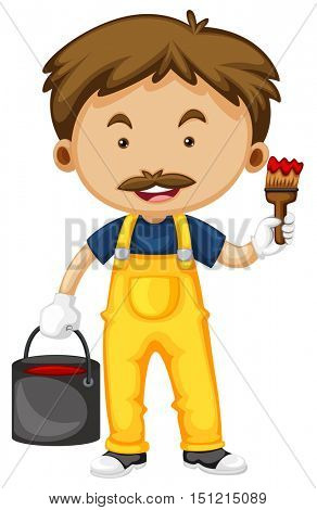 Painter with paintbrush and color illustration