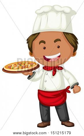 Italian chef with tray of pizza illustration
