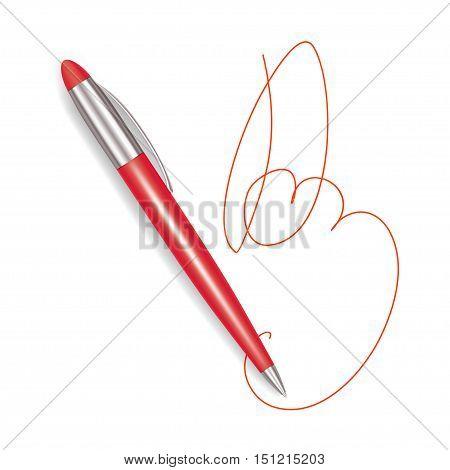 Write Realistic Red Plastic Pen Sign. Vector illustration