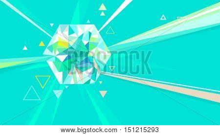 Colorful Illustration of a Quartz with Rays of Light Passing Through It