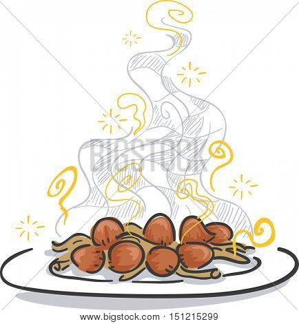Sketchy Illustration of a Plate of Cooked Mushrooms with a Sweet Aroma Wafting from It