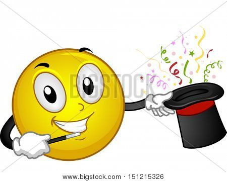 Mascot Illustration of a Happy Smiley Drawing Colorful Confetti Out of a Magic Hat