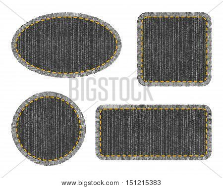 Set of black denim patches with stitch. Different shapes with place for your text isolated on white background