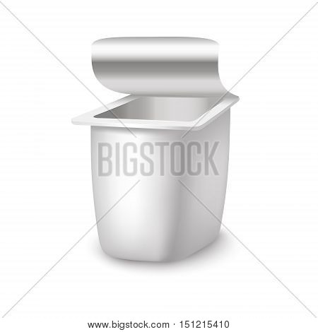 Template White Blank Yoghurt Container. Empty Package. Vector illustration
