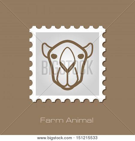 Camel outline stamp. Animal head vector symbol eps 10