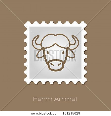 Buffalo bull bison ox outline stamp. Animal horned head vector symbol eps 10