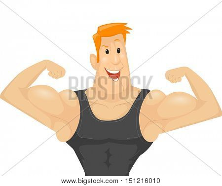 Fitness Illustration of a Muscular Man in a Black Tank Top Flexing His Biceps to Show His Muscles