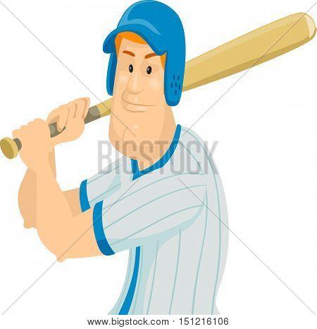 Sports Illustration of a Man in Baseball Uniform Preparing to Swing His Bat