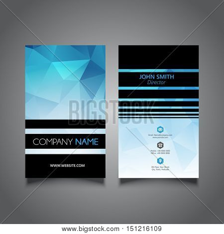 Modern business card with a low poly design