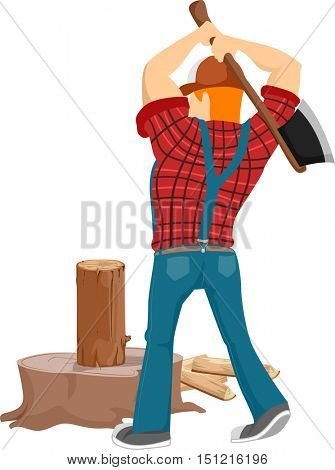 Back View Illustration of a Bearded Caucasian Lumberjack in a Cap and Plaid Shirt Chopping a Piece of Log