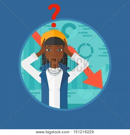 An african-american bankrupt clutching her head. Woman with a big question mark above her head. Concept of business bankruptcy. Vector flat design illustration in the circle isolated on background.