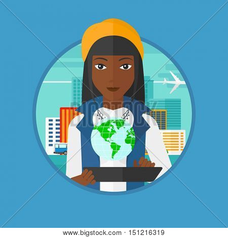 An african woman holding a tablet computer with a model of earth above the device. International technology communication concept. Vector flat design illustration in the circle isolated on background.
