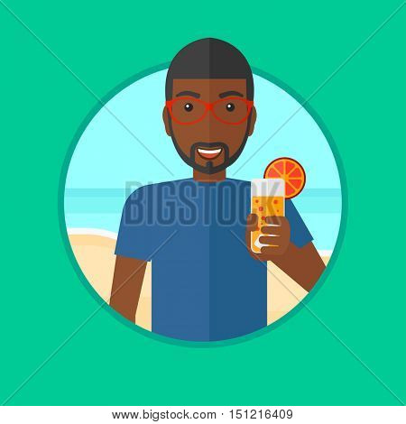 African-american man holding cocktail in hand on the beach. Young man drinking a cocktail on the beach. Man enjoying his vacation. Vector flat design illustration in the circle isolated on background.