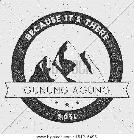 Gunung Agung In Nusa Tengarra, Indonesia Outdoor Adventure Logo. Round Climbing Vector Insignia. Cli