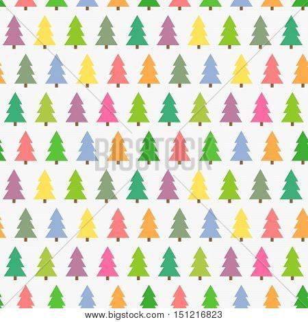 Christmas colorful trees seamless pattern. Vector illustration