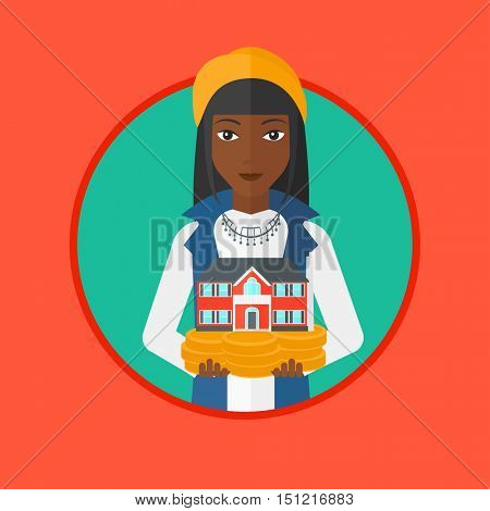 An african-american woman holding house model in hands on the background of sky. Young female real estate agent with house model. Vector flat design illustration in the circle isolated on background.
